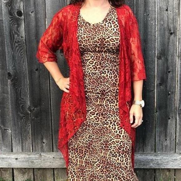 NWT LuLaRoe Shirley red lace open cardigan